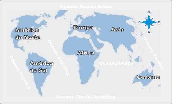 Os continentes são: